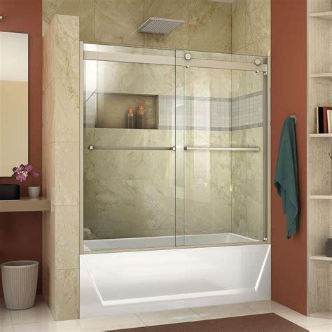 frameless shower doors tub dreamline essence h 60 in x 60 in frameless bypass tub
