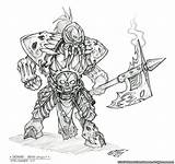 Death Knight Coloring Warcraft Concept Cool Character sketch template