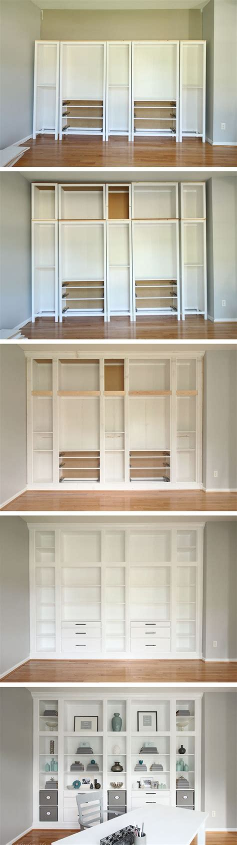 Ikea Hack Hemnes Bookcase by Diy Built In Bookcases Made With Ikea Hemnes Furniture