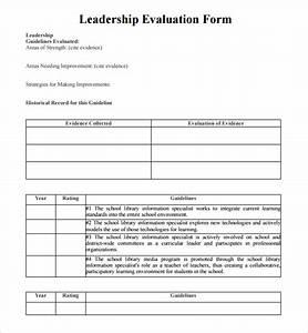 Sample leadership evaluation form 9 free documents for Leadership evaluation form templates