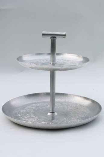 vintage hammered aluminum  tiered plate sandwich