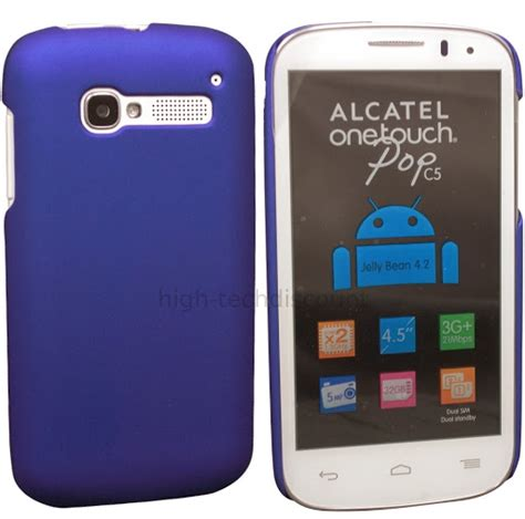 alcatel one touch housse housse etui coque rigide pour alcatel one touch pop c5 5036d ecran bleu rigide