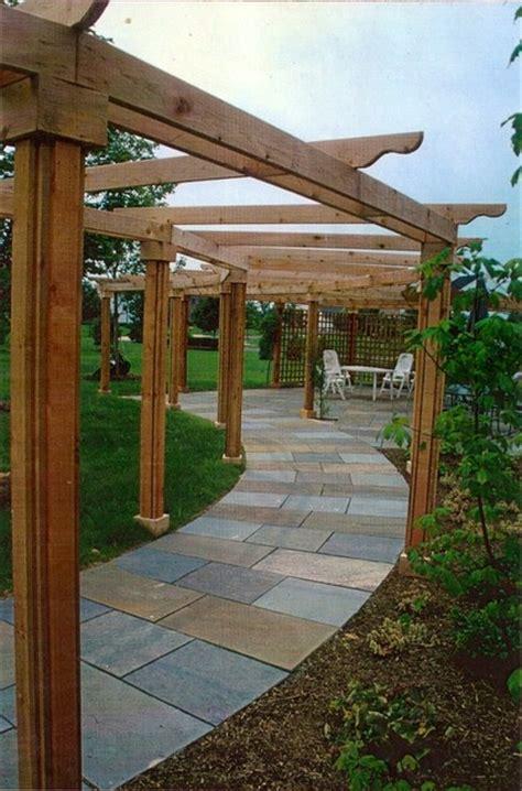 bluestone walkway terrace cedar pergola traditional