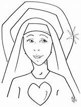 Coloring Nun Catholic Pages Crafts Para Colorear Mary Heart Clipart Classroom Dibujo Saints Religious Activities Education Lady 312px 77kb Template sketch template