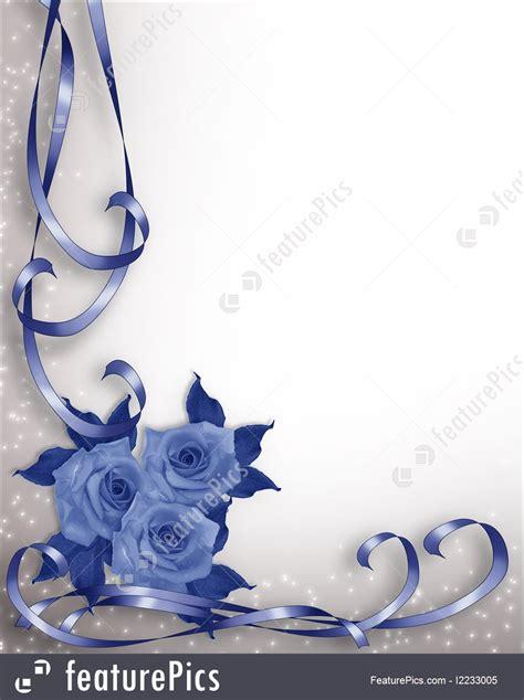 illustration  wedding invitation blue roses