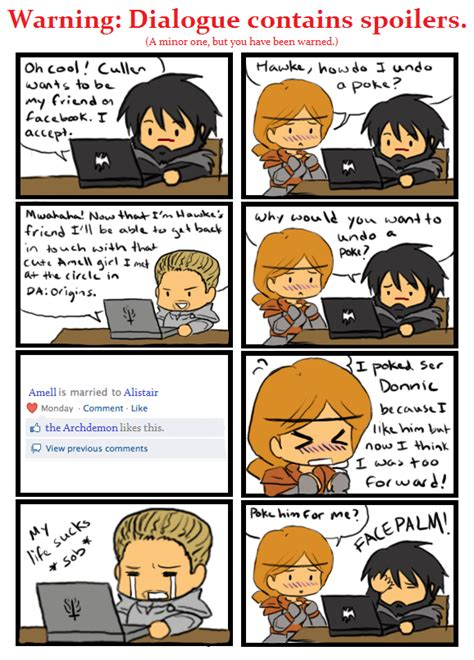 Dragon Age Kink Meme - cullen and aveline on facebook by silverhyena on deviantart