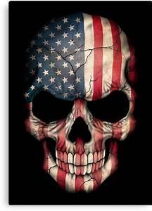 """American Flag Skull"" Canvas Prints by jeff bartels"
