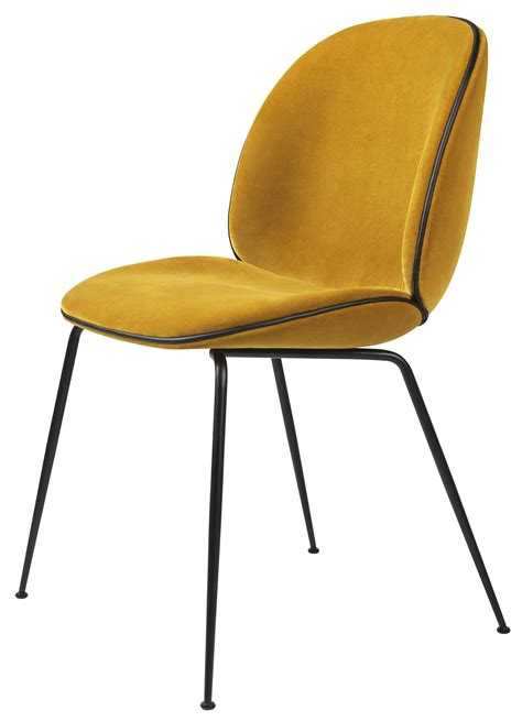 chaises jaunes gubi beetle chair metal legs fully upholstered shell