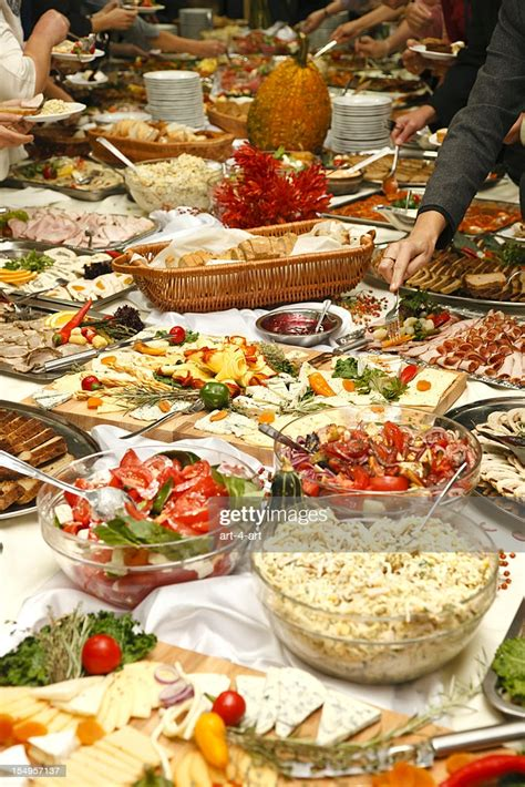catering table full  tasty food stock photo getty images