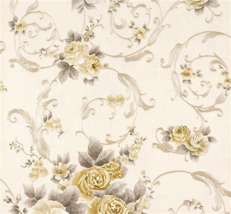 tapete romantica blumen weiss gold  creation