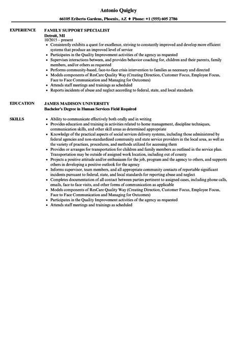 family support specialist resume samples velvet jobs