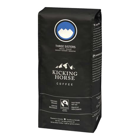 We pay homage to these powerful peaks with a triple punch of light, medium and dark. Kicking Horse Coffee - Three Sisters | Stong's Market