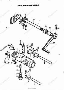 Suzuki Motorcycle 1977 Oem Parts Diagram For Gear Shifting