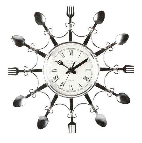 kitchen clocks novelty design chrome colour fork spoon