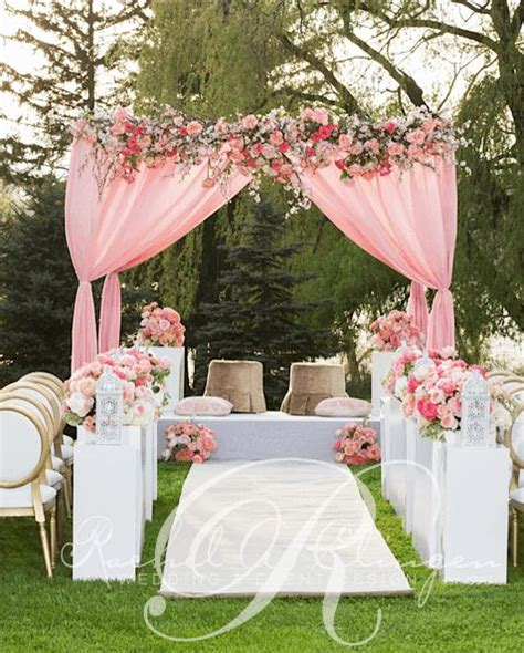 Pink And White Wedding Ceremony