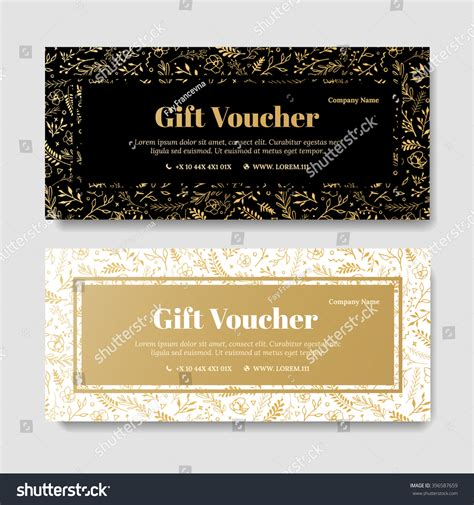 gift premium voucher coupon template golden stock vector