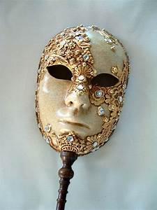 Full Face Gold Macrame Stick - Venetian Masks - 1001 ...