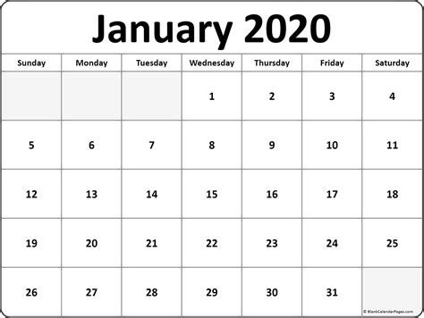 January 2020 Blank Calendar Printable Collection