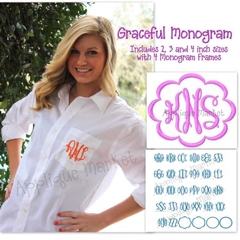 graceful monogram alphabet applique design
