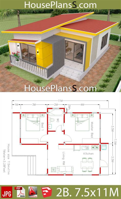 House Plans 7 5x11 with 2 Bedrooms Full plans en 2020