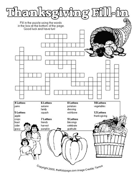thanksgiving fill  puzzle  printable learning