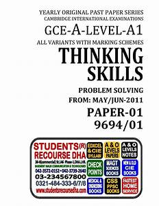 Unsolved Yearly With Marking Scheme A Level Thinking Skills