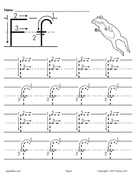free printable letter f tracing worksheet with number and