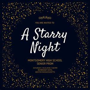 golden starry night prom invitation lds prom pinterest With starry night wedding invitations template
