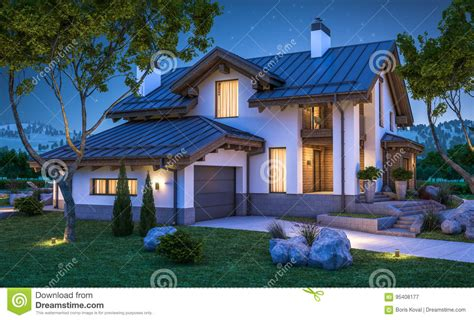 chalet style homes for sale 3d rendering of modern cozy house in chalet style stock illustration image 95408177