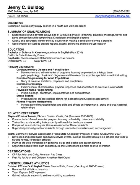 resume for kinesiology student kinesiology graduate resume sles http