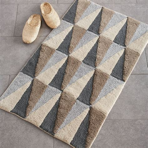 angles  cotton bath rug neutral  company store