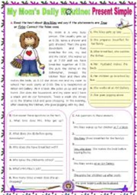 english worksheets  moms daily routine simple present