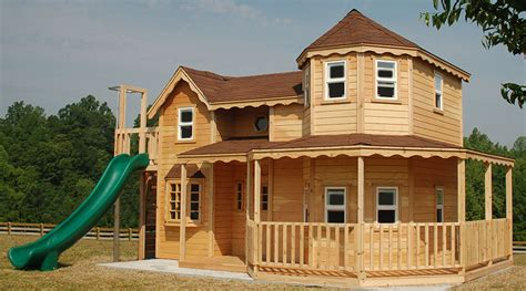 queen anne kids wood play house home plans blueprints
