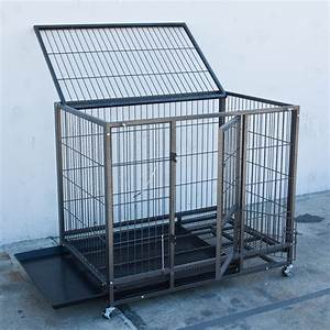 43quot heavy duty metal dog cage kennel wheels portable pet With steel dog crates kennels