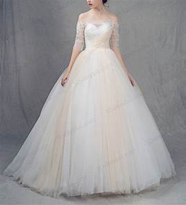 is025 white and champagne colored tulle princess ball gown With white and champagne wedding dress