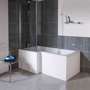 1700mm L Shape Square Shower Bath Screen White Left