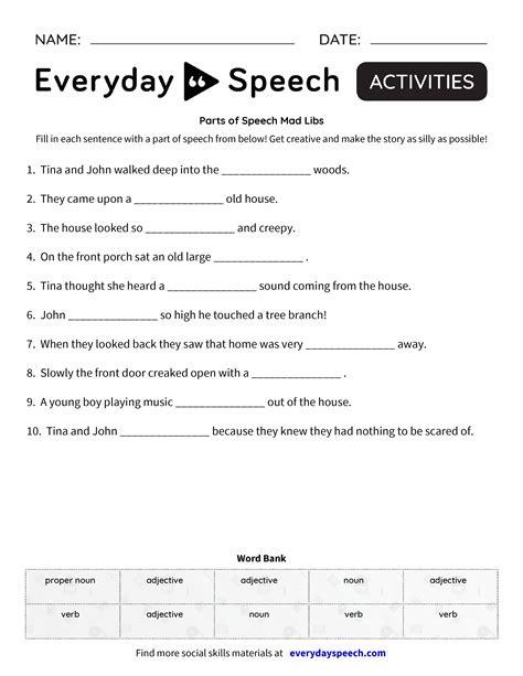 parts of speech mad libs everyday speech everyday speech