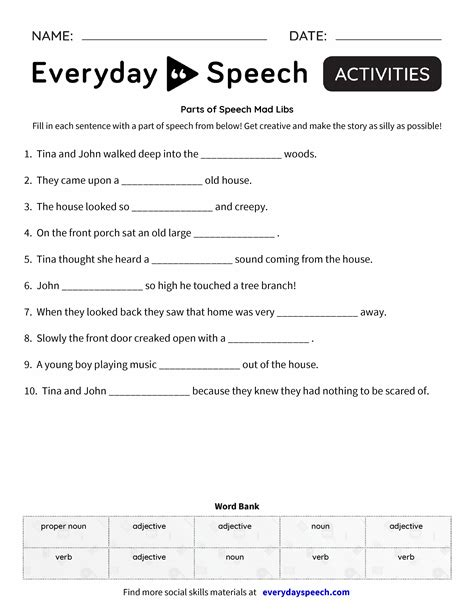 Parts Of Speech Mad Libs  Everyday Speech  Everyday Speech