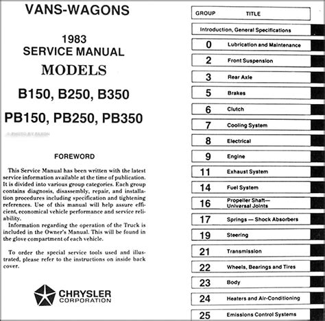 car manuals free online 1994 dodge ram van b350 user handbook 1983 dodge ram van voyager wagon repair shop manual original 150 350