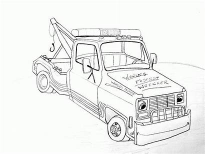 Tow Coloring Truck Pages Trucks Outline Towing