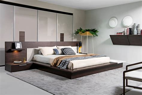 modrest torino contemporary brown oak grey platform bed