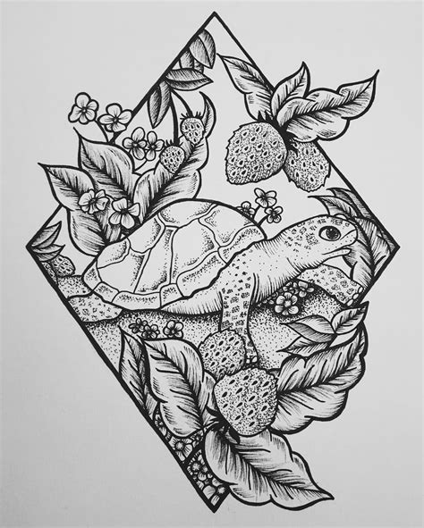 turtle illustration tattoo design personal work