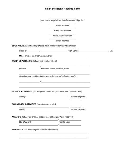 13495 fill in blank resume template free fill blank resume resume format