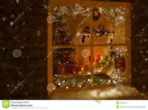 christmas window holiday home lights room decorated xmas tree stock photo image 46524031