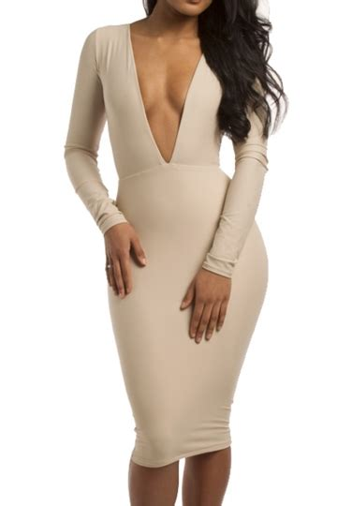 beige sexy womens deep  long sleeve plain bodycon dress