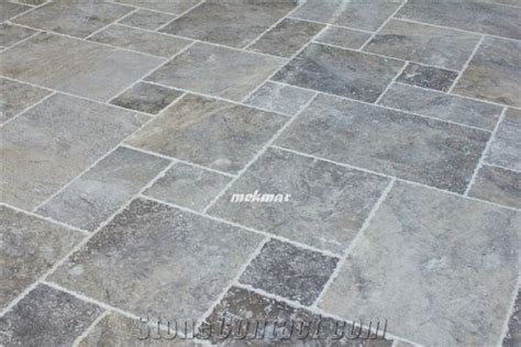 Silver Travertine French Pattern, Silver Gray Travertine