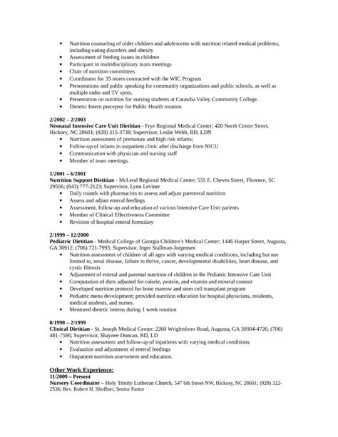 Resume For Outpatient Dietitian by Chronological Nutritionist Resume Template Page 2