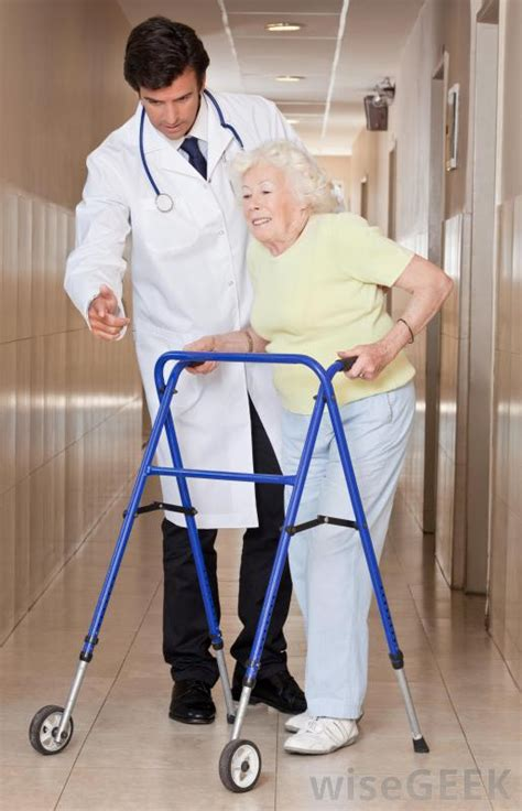 elderly walker occupational therapy equipment osteoporosis geriatric gait types training different mobility walkers person exercises issues seniors helping woman help