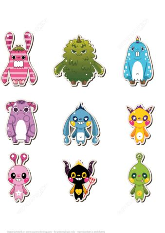 printable monster stickers  printable papercraft