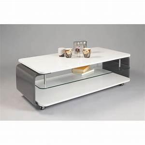 Table Basse Blanc Gris : table basse design verre et bois laqu blanc gris lorena ~ Nature-et-papiers.com Idées de Décoration